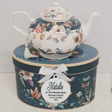 Teapot in Personalised Coach Gift Box - Bouquet