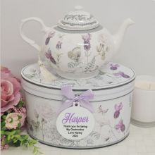 Teapot in Personalised Godmother Gift Box - Lavender
