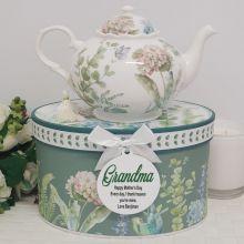 Teapot in Personalised Grandma Gift Box - Hydrangea
