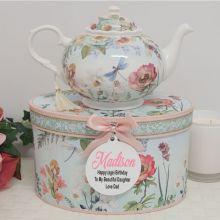 Teapot in Personalised Birthday Gift Box - Poppy