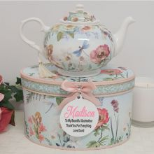 Teapot in Personalised Godmother Gift Box - Poppy