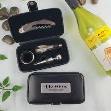 80th Birthday 4pce Wine Bottle Accessory Set with Personalised Case