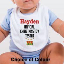 Personalised Christmas Baby Bib - Toy Tester