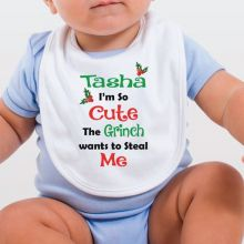 Personalised Christmas Baby Bib  - Grinch
