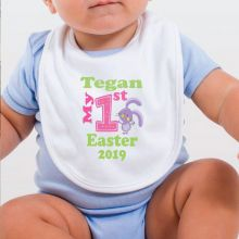 Personalised 1st Easter Bib - Pink Bunny