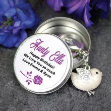 Personalised Aunty Keyring Gift - Bird