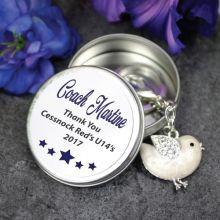Personalised Coach Keyring Gift - Bird