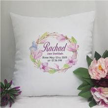 Personalised Birth Details Cushion Cover Floral