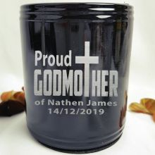 Godmother Engraved Black Can Cooler Personalised Message
