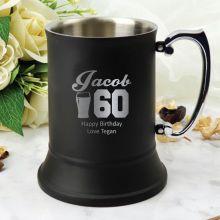 60th Birthday Black Stainless Steel Stein Glass (M)