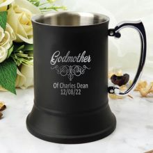 Godmother Engraved Stainless Steel Black Beer Stein