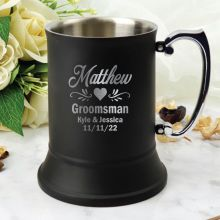 Groomsman Engraved Stainless Steel Black Beer Stein
