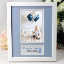 Personalised 1st Birthday  Photo Frame 4x6 White Wood Blue