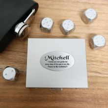 5pce Silver Metal Dice with Personalised Box - God Father