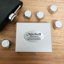 5pce Silver Metal Dice with Personalised Box - Groomsman