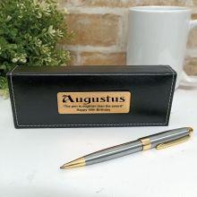 40th Birthday Satin & Gold Twist Pen Personalised Box