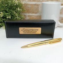 Personalised Gloss Gold Twist Pen Personalised Box