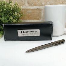 80th Birthday Gunmetal Twist Pen in Personalised Box