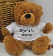 Custom Text T-Shirt Bear Brown Plush