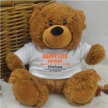 Personalised 13th Birthday Teddy Bear Brown Plush