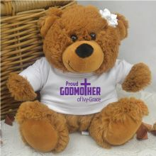 Proud Godmother Personalised Teddy Bear Brown Plush