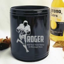 Football Coach Engraved Black Stubby Can Cooler Personalised Messag