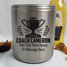 Coach Engraved Silver Stubby Can Cooler Personalised Message