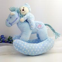 Musical Rocking Horse Plush Toy Blue