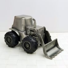 Baby Money Box Pewter Digger Front Loader