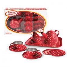 Red Polka Dot Tin Tea Set (15pce) - Kaper Kidz