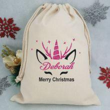 Personalised Christmas Santa Sack - Glitter ReindeerUnicorn