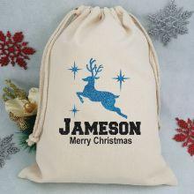 Personalised Christmas Santa Sack 40cm - Glitter Reindeer