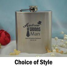 Groomsman Personalised Silver  Flask