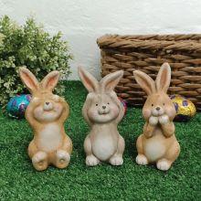Ceramic Easter Bunny Trio - No Evil