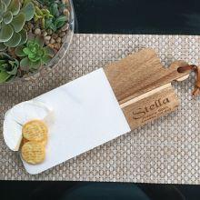 90th Birthday Engraved Cheese Board Marble/Acacia