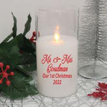 Personalised Christmas Mr & Mrs LED Glass Jar Candle