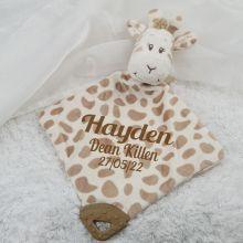 Personalised Giraffe Baby Comforter, Rattle & Teether