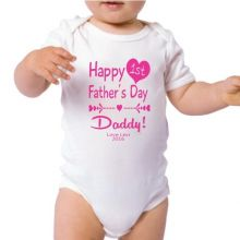 Personalised 1st Fathers Day Bodysuit -Heart