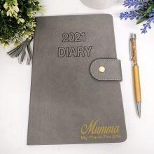 Personalised 2021 Mum Diary A5 WTV - Grey Tassle