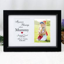 Mum Blessings Photo Frame Typography Print 4x6 Black