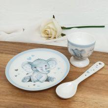 Baby Elephant Boys Egg Cup Set Blue