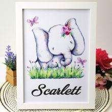 Personalised Framed Nursery Print - Elephant