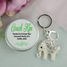 Personalised Coach Diamante Elephant Keyring Gift