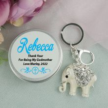 Personalised Godmother Diamante Elephant Keyring Gift