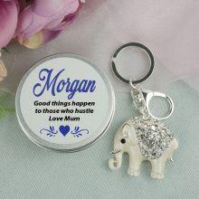 Personalised Diamante Elephant Keyring Gift