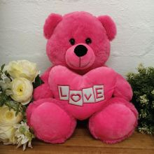 Valentines Bear With Pink Heart 30cm