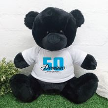 50th Birthday Personalised Black Bear with T-Shirt 40cm