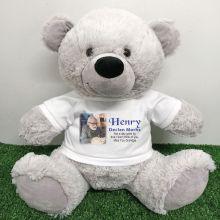 Personalised Memorial Photo Teddy Bear 40cm Grey