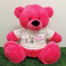 Personalised Memorial Photo Teddy Bear 40cm Hot Pink