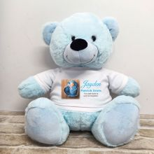 Personalised Memorial Photo Teddy Bear 40cm Light Blue